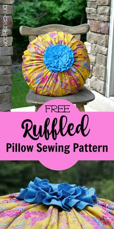 Free Ruffled Pillow Sewing Pattern. Easy to sew and the cover is removable. Comes with link to downloadable template | DIY Crush