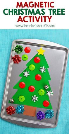 Easy Holiday Crafts for Kids to Make at Home - Cute and Cheap Idea for Children to Make at Christmas - Game for Decorating the Tree with Buttons - Boys and Girls Love This Magnetic Christmas Tree Activity Noel Christmas, Simple Christmas, Christmas Themes, Holiday Crafts, Holiday Fun, Christmas Gifts, Christmas Decorations, Xmas, Christmas Tree Crafts