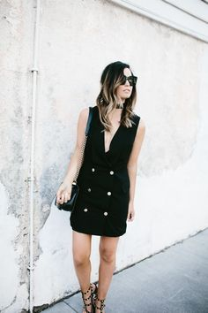 The perfect LBD via For All Things Lovely | MinkPink dress, Valentino shoes, Chanel handbag, Nordstrom choker, and Celine sunnies