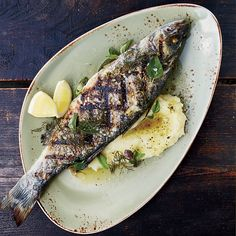 Grilled Branzino with Skordalia and Ladolemono | Food & Wine