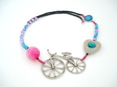 Santorini Lava Heart Necklace-Modern Metal Bicycle Necklace-Silver Turquoise Druzy Agate-Fuchsia Faceted Ball 20mm Striped Agate