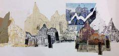 Collage of prints Architectural Sketches, Architectural Features, A Level Art Sketchbook, Collage Drawing, Building Art, Gcse Art, Built Environment, Environmental Art, Distortion