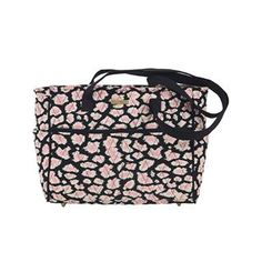 Amira Gabby - The Gabby is great for busy women on-the-go who need a large main compartment to hold a planner, water bottle or camera and a lot of pockets for essentials like a phone, keys, wallet and more. Amira's Caviar Black, Bright White and pops of Blush Pink add a feminine twist to the timeless leopard print. With 4 outside slip pockets, 4 inside slip pockets and 1 zip pocket organization is easy. It features 2 nonadjustable 28x1