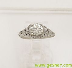 1.01ct. Diamond & Gold Art Deco Engagement by GesnerEstateJewelry, $5060.00