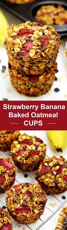 Simple, quick, healthy and tasty breakfast - Strawberry Banana Baked Oatmeal Cups. Perfect way to start your day, with these delicious cups ♥