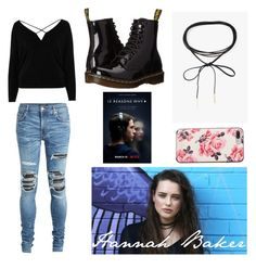 """Hannah Baker Outfit"" by marcie-vaneyck ❤ liked on Polyvore featuring Azalea, River Island, AMIRI, Kate Spade, Dr. Martens, Hannah, baker, hannahbaker, 13reasonswhy and 13rw"