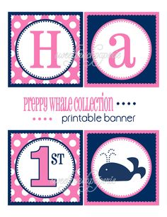 Preppy Whale Party Collection Printable by sweetpeachpaperie, $8.00