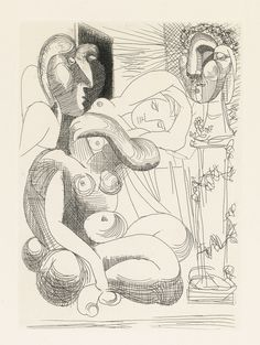 PABLO PICASSO 1881 - 1973 SCULPTEUR AVEC COUPE ET MODÈLE ACCROUPI (B. 152; BA. 304) Etching, 1933, from la suite Vollard, signed in pencil, from the total edition of 310, on Montval laid paper with the Vollard watermark, published by Ambroise Vollard, Paris, framed plate: 268 by 195mm 10 1/2 by 7 5/8 in sheet: 446 by 340mm 17 5/8 by 13 3/8 in