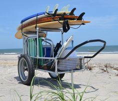 """Multifunction Beach Cart - Bicycle Trailer Cart - Cargo Carrier Cart - Heavy Duty Aluminum /Stainless Steel Framing and Hardware - Lightweight >50lbs - 20"""" x 4.25"""" Extra Wide Tires mounted Aluminum Rims and Hubs with Stainless steel spokes and sealed bearings - PVC Coated Wire mesh Cargo area - Options for Uprights to store gear above cargo area, Vehicle Cargo Carrier Attachment, Bicycle trailer attachment"""