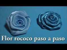 DIY. FLOR rococo liston metalico en tiara/ Headband the rose for hair. Diy ribbon flower. - YouTube