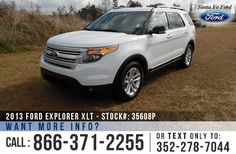 2013 Ford Explorer XLT - Sport Utility Vehicle - V6 3.5L Engine - Keypad Door Lock - Remote Keyless Entry - Alloy Wheels - Spoiler - Tinted Windows - Fog Lights - Roof Racks - Safety Airbags - Powered Windows/Locks/Mirrors - Seats 7 - AM/FM/CD/SIRIUS Satellite - SYNC by Microsoft - iPod/AUX/USB Ports - Bluetooth - Digital Compass - Outside Temperature Display - Backup Sensor - Cruise Control and more!