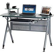 TechniMobili® Frosted Glass Top Computer Desk