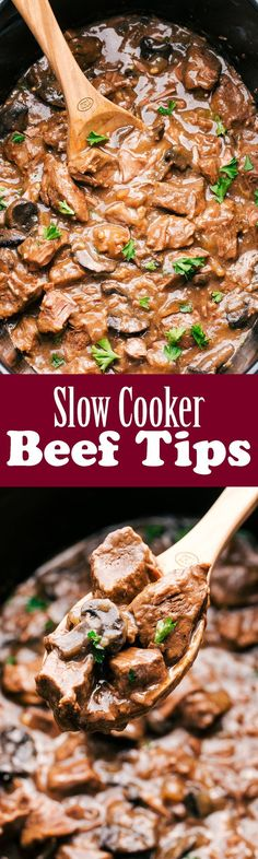 SLOW COOKER BEEF TIPS WITH MUSHROOMS