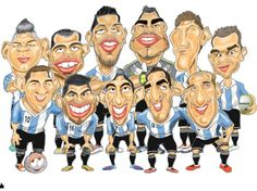 caricaturas de jugadores mundial 2014 Argentina Soccer Players, American Football, Art World, Different Styles, Fallout Vault, Family Guy, Caricatures, Artist, Word Cup