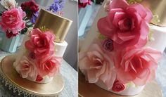Wafer paper flowers and metallic gold wedding cake by Michelle Keel, Scummy Mummys as featured on Cake Geek Magazine Online.