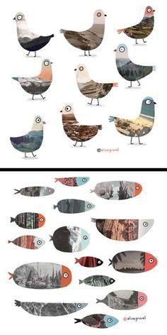 Photo Collage Sets For Wall White Photo Collage Pictures Collage Foto, Art Du Collage, Fish Collage, Cerámica Ideas, Inspiration Art, Art Plastique, Bird Art, Landscape Art, Landscape Design