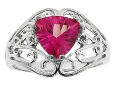 Trillion Cut Pink Topaz Diamond Sterling Silver Filigree Ring Available Exclusively at Gemologica.com