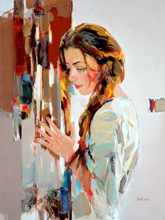 ''A Voice Within'' by Josef Kote  Kote's trade marks are his bold brush work and sweeping strokes of vibrant colors applied - more often than not - with a pallet knife, while other areas of the canvas are left monochromatic and devoid of detail creating a negative space that lets the eye drift to infinity. The results are paintings that tremble in stillness with energy and light.