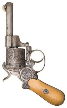 Engraved and ivory handled Belgian double action pinfire revolver, mid 19th century.: