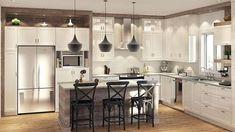 Insertion de bois haut des armoires/ coin café plusieurs bonnes idées. Haut du frigo