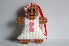 Gingerbread Girl Christmas Tree by Ricamoeplasticcanvas on Etsy Plastic Canvas Ornaments, Plastic Canvas Crafts, Plastic Craft, Plastic Canvas Stitches, Plastic Canvas Patterns, Gingerbread Ornaments, Diy Christmas Ornaments, Fuse Bead Patterns, Christmas Backdrops