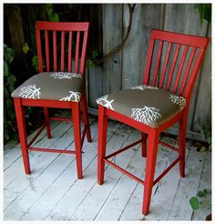Barn Red Mission Style Bar Chairs with Grey Coral by NineRed, $200.00