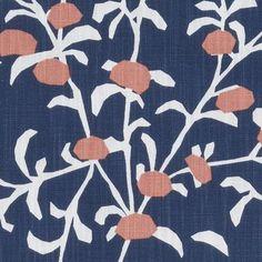 Prints Fabric - Cotway Sapphire Leaf/Foliage/Vine Floral - Stylized Fabric Pattern