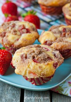 Strawberry Cheesecake Streusel Muffins - A Family Feast