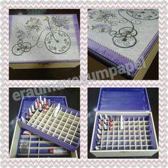 Porta esmaltes com duas bandejas internas e capacidade para 70 esmaltes!