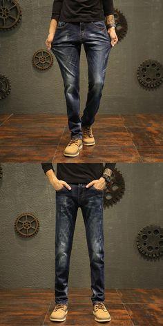 Odinokov brand 2017 New Autumn Winter Fashion Jeans Men Causal Denim Pants Long Trousers Slim Fit Brand Clothing