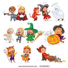 Happy Halloween. Funny little children in colorful costumes. Robber, ghost, mummy, skeleton, witch, vampire, devil. Cartoon character. Vector…