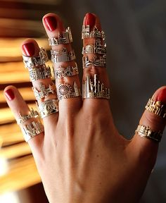 Cityscape rings, statement bracelets, bar necklaces by CITIMI Jewelry. Skylines, cityscape jewelry skillfully designed in gold and silver. Made in Italy, ships worldwide