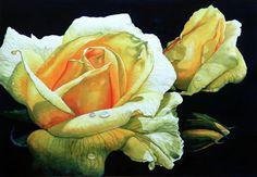 Rosas Amarelas - Pintura de Hanne Lore Koehler - Alemanha