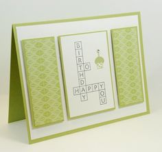Happy Birthday Crossword Puzzle Handmade Greeting Card Green White  | cardsbylibe - Cards on ArtFire
