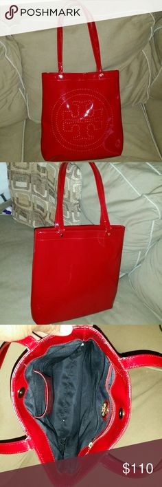 Authentic tory burch  tote Very good condition/ very clean inside as seen in the pictures/  mini length 13, width 12 1/2 Tory Burch Bags Totes