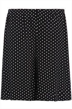 Black And White Polka Dot Print Jersey Shorts