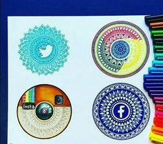 Wich one is your favorite! Social mandalas by Tag your friends All I can say is Damn App Drawings, Doodle Drawings, Cute Drawings, Doodle Art, Art Sketches, Amazing Drawings, Amazing Art, Social Media Art, Medium Art