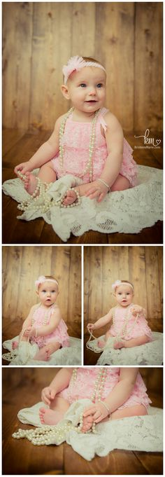 6 Month Old Child Photography - Little Girl With Pearls