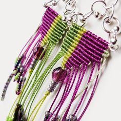 These micro macrame earrings are made of Czech glass beads and seed beads, C-lon bead cord, metal findings. Macrame Design, Macrame Art, Macrame Knots, Macrame Necklace, Macrame Jewelry, Tatting Earrings, Dangle Earrings, Jewelry Knots, Micro Macramé