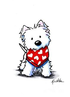 KiniArt Westie Terrier dog breed art by Contemporary PUP Artist, Kim Niles. © Kim Niles, KiniArt™ - All Rights Reserved. Valentine Drawing, Valentine Cartoon, Valentines, Cartoon Drawings, Animal Drawings, Cute Drawings, West Highland Terrier, Westies, Dog Art