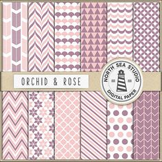 Orchid And Pink Digital Paper Pack  Scrapbook by NorthSeaStudio