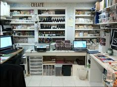 This blogger's set up is in her basement, similar to my area...just wish mine looked half so nice!