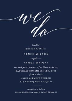 Navy and white wedding invitation - a classic navy color with white lettering.