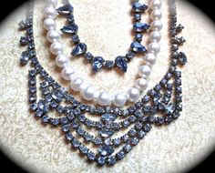 Something Blue and Pearl Rhinestone Necklace  by JNPVintageJewelry, $175.00