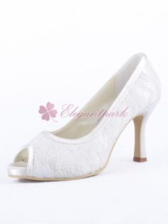 03e75a2ac593a2 White Peep Toe Cone Heel Lace Peep Toe Evening Party Bridal Shoes with  Stitching Lace