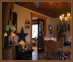 Large barn star hung low over a small bench.