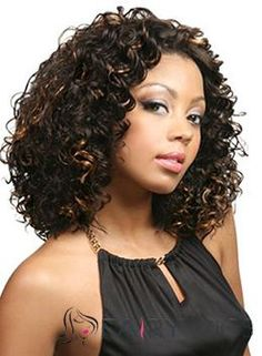 New Glamourous Medium Curly Sepia No Bang African American Lace Wigs for Women 14 Inch