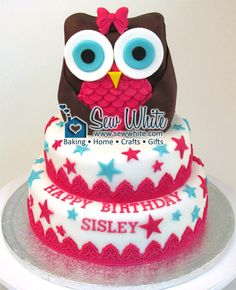 Sew White owl cake birthday 1