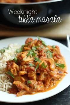 Weeknight tikka masala - only takes 20 minutes!!! Use whatever protein you like (paneer, chickpeas, Quorn, etc)