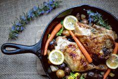 slow cooker rosemary lemon chicken + spring veggies